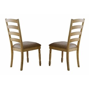 Fernanda Wood and Fabric Upholstered Dining Chair (Set of 2) by August Grove