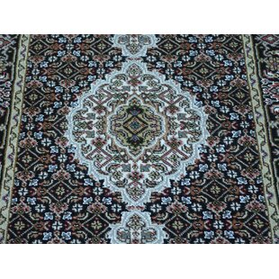 Compare & Buy One-of-a-Kind Christal Mahi Handwoven Black Wool/Silk Area Rug By Isabelline