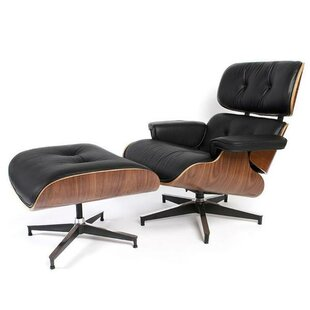 Corrigan Studio Donavan Mid-Century Swivel Lounge Chair and Ottoman