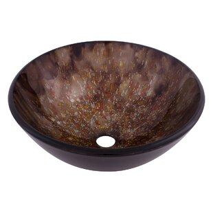 Best Reviews Distorto Glass Circular Vessel Bathroom Sink By Novatto