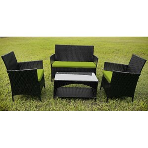 outdoor garden furniture 4 piece lounge seating group