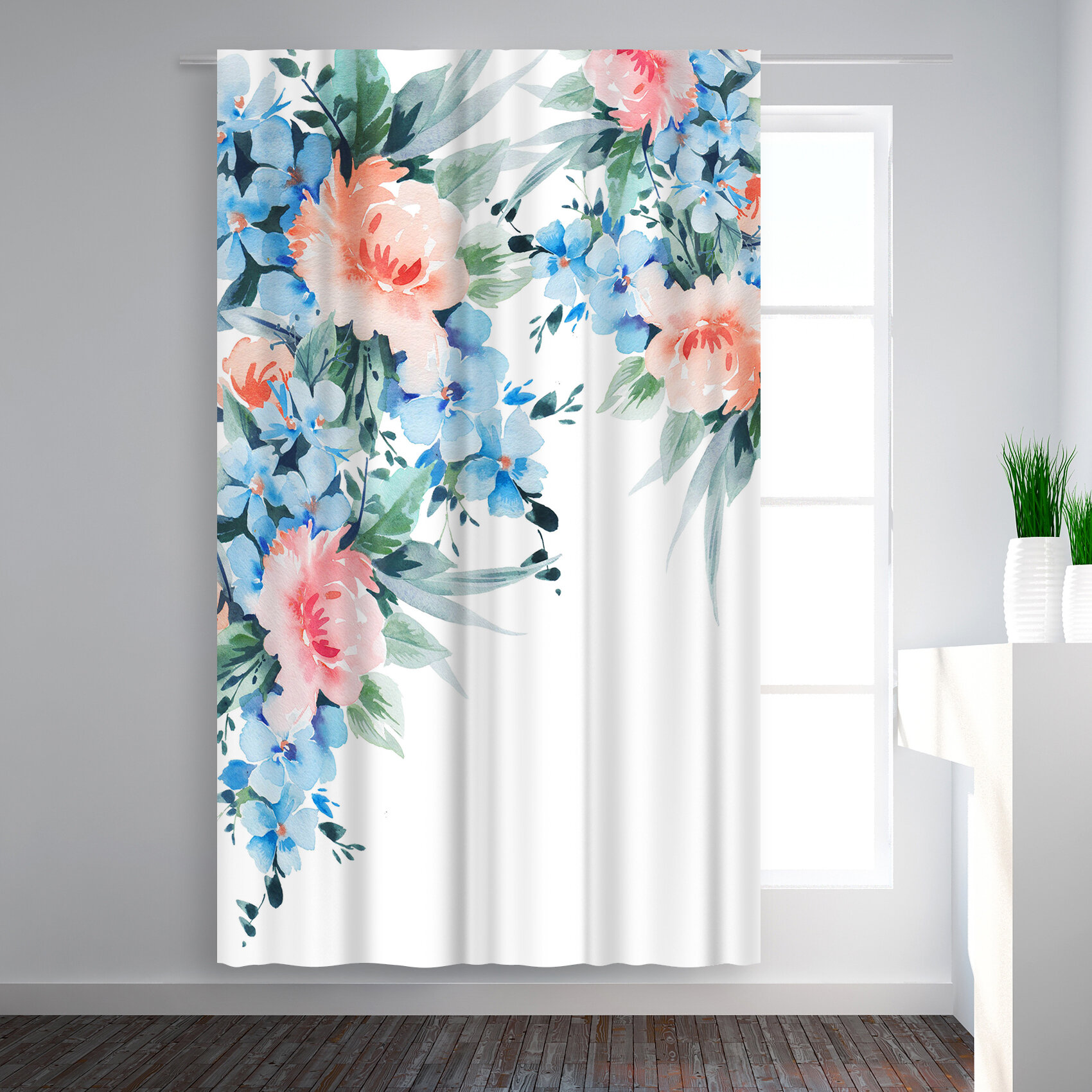 East Urban Home Victoria Nelson Blossom Bouquet Floral Blackout Rod Pocket Single Curtain Panel Wayfair