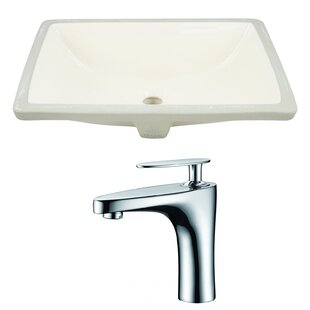 Compare prices CUPC Ceramic Rectangular Undermount Bathroom Sink with Faucet and Overflow By Royal Purple Bath Kitchen