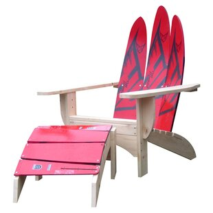 Ski Chair Water Ski Solid Wood Adirondack Chair with Ottoman