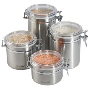 Buy Stainless Steel 4 Piece Kitchen Canister Set!