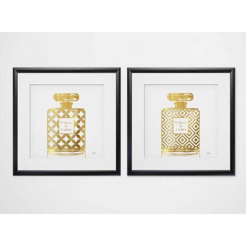 House Of Hampton Perfume De Paris 2 Piece Framed Graphic Art Print Set Reviews Wayfair