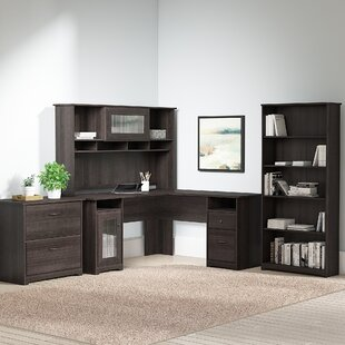 Hillsdale L-Shape Desk with Hutch Lateral File and 5 Shelf Bookcase