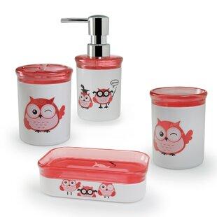 Bargain Kid's Owl 4-Piece Bathroom Accessory Set ByImmanuel