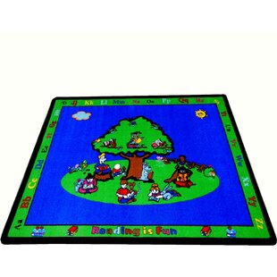Inexpensive Fun Learning Reading is Fun Blue/Green Area Rug By Kids World Carpets