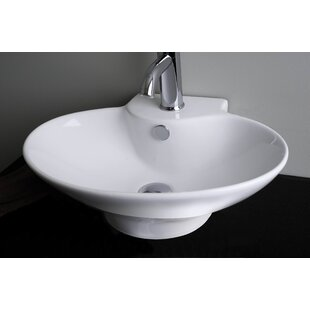 Reviews Ceramic 23 Wall Mount Bathroom Sink with Overflow By American Imaginations