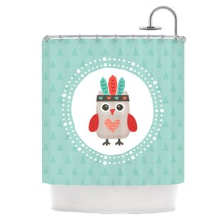 Owlet Mint Coral Shower Curtain By East Urban Home