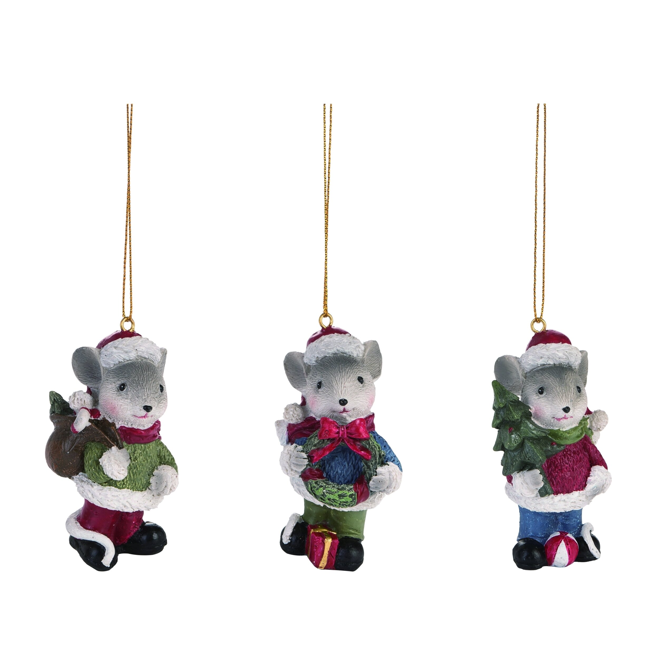 The Holiday Aisle 3 Piece Mouse Hanging Figurine Ornament Set Wayfair