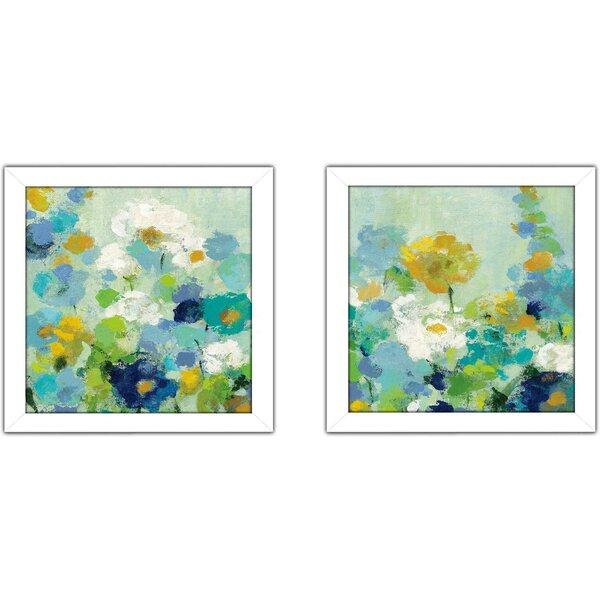 Ebern Designs Midsummer Garden White Flowers 2 Piece Framed