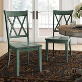 Florissant Solid Wood Cross Back Side Chair (Set of 2) by Three Posts™