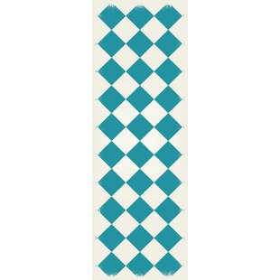 Great choice Holeman Diamond European Teal/White Indoor/Outdoor Area Rug By Winston Porter