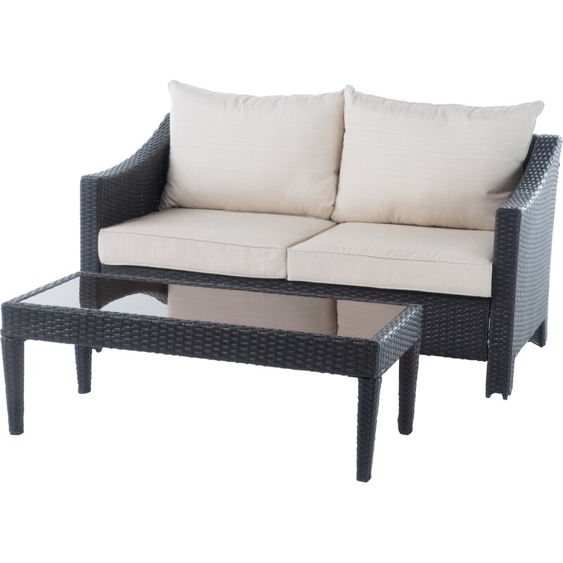 Sol 72 Outdoor  Portola 2 Piece Conversation Set with Cushions