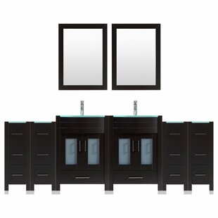 Peterman 120 Double Bathroom Vanity Set with Rectangular Mirror by Orren Ellis