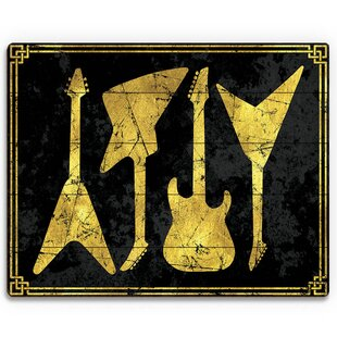 Guitar Silhouettes Graphic Art On Plaque
