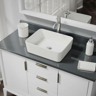 Read Reviews Vitreous China Rectangular Vessel Bathroom Sink with Faucet and Overflow ByRené By Elkay