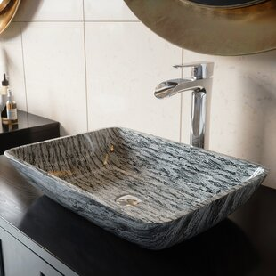 Glass Rectangular Vessel Bathroom Sink