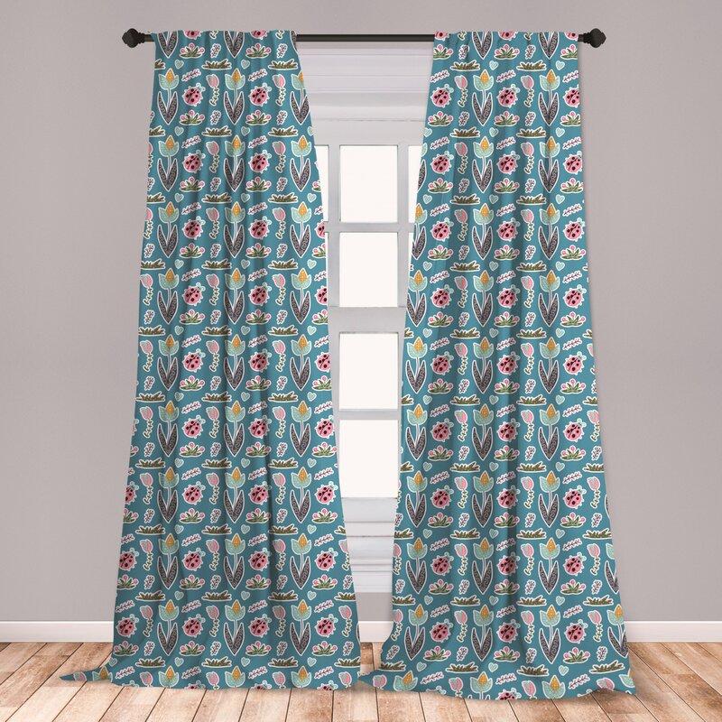East Urban Home Nature Floral Room Darkening Rod Pocket Curtain Panels Wayfair