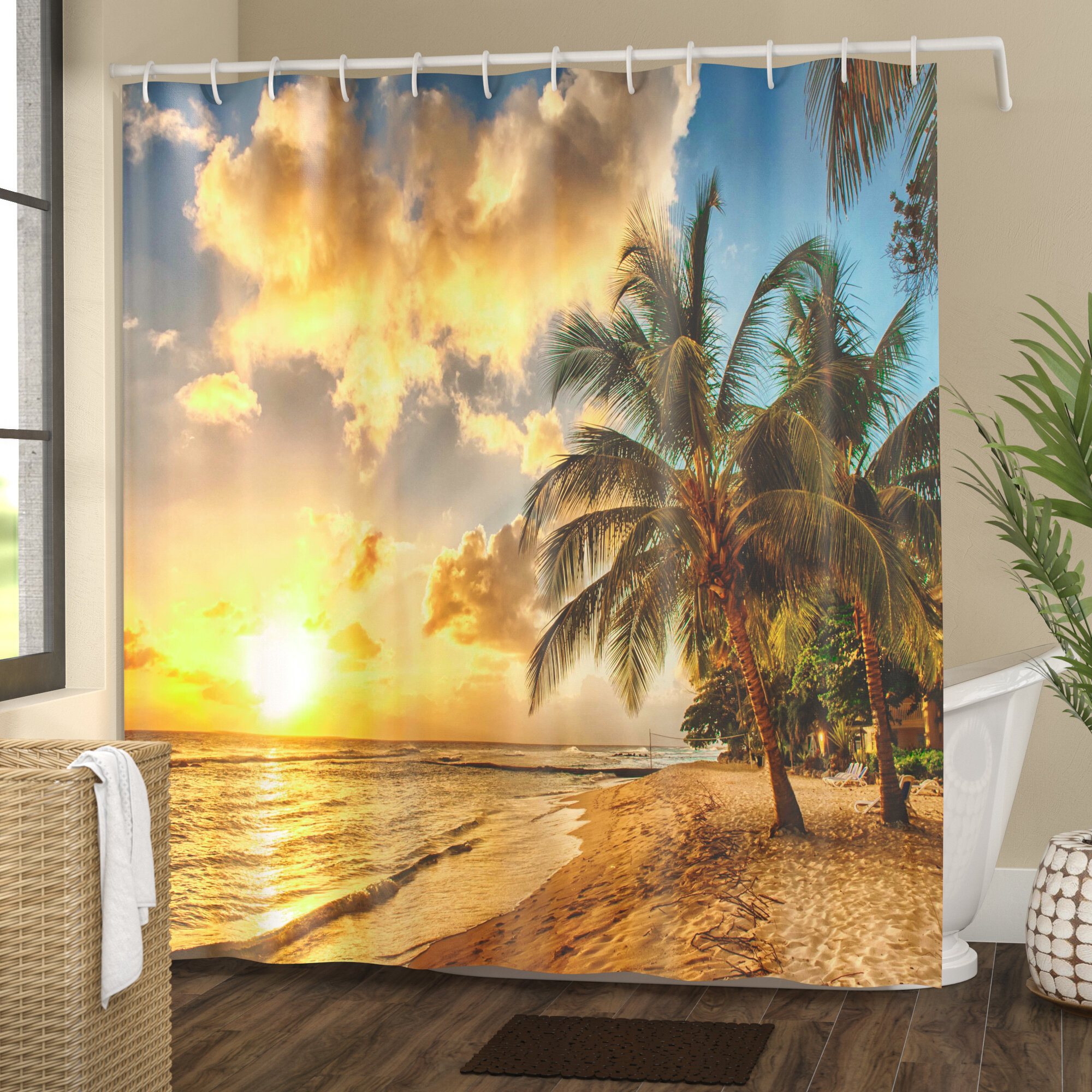 East Urban Home Tropical Exotic Sandy Beach Shower Curtain & Reviews ...