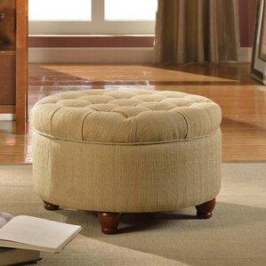 nussbaum round button upholstered storage ottoman
