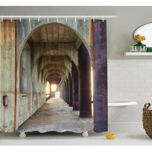 Price comparison Corridor of Concrete Pillars Decor Shower Curtain ByEast Urban Home