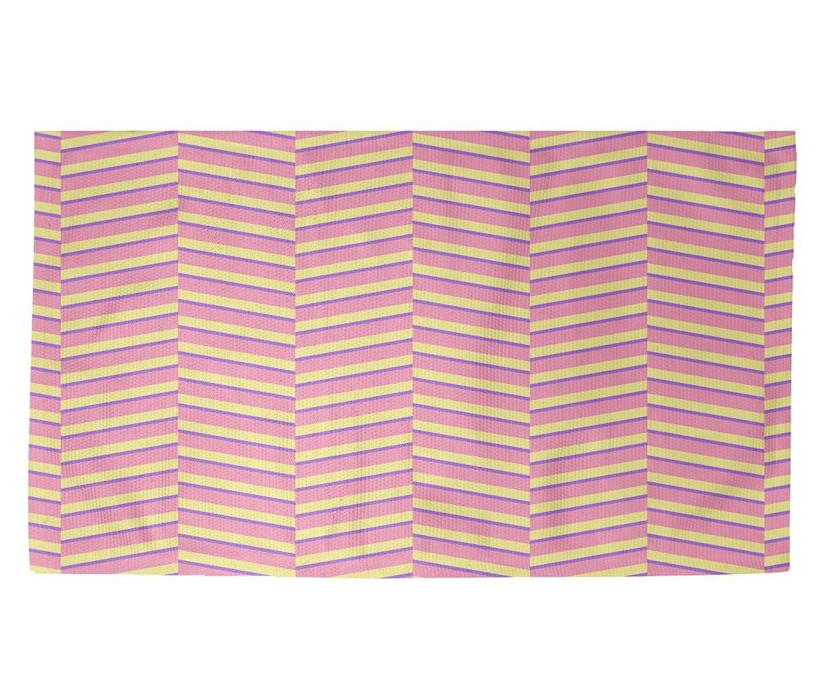 Brayden Studio Boozer Fractured Stripes Pink Area Rug