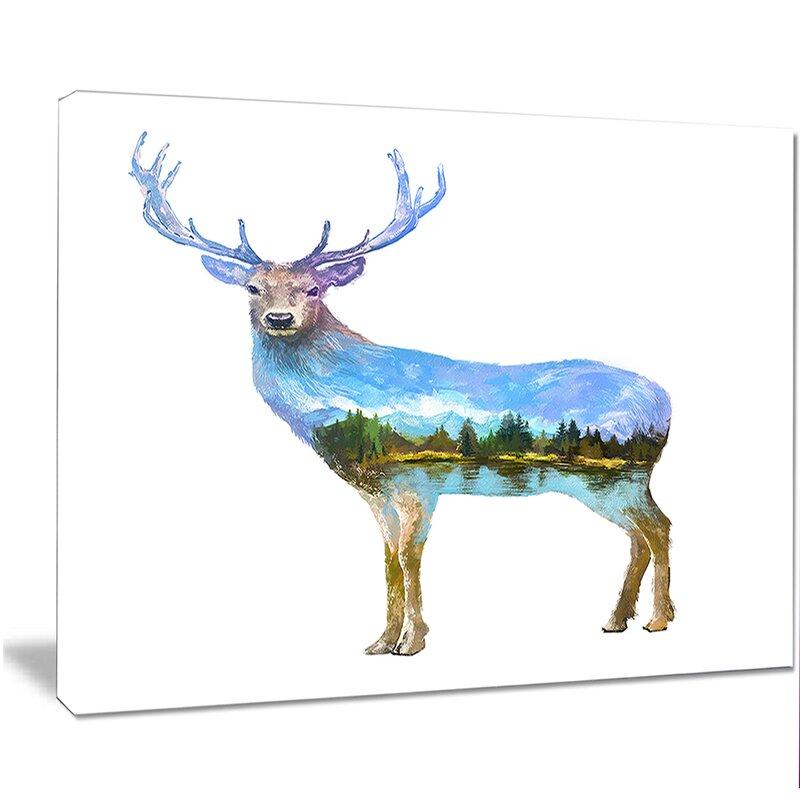 Designart Deer Double Exposure Illustration Graphic Art On Wrapped Canvas Wayfair