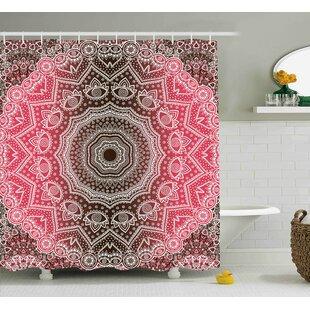 Ayers Mandala Retro Bohemian Ombre Print Primary Essence of Cosmos Medallion Style Art Single Shower Curtain
