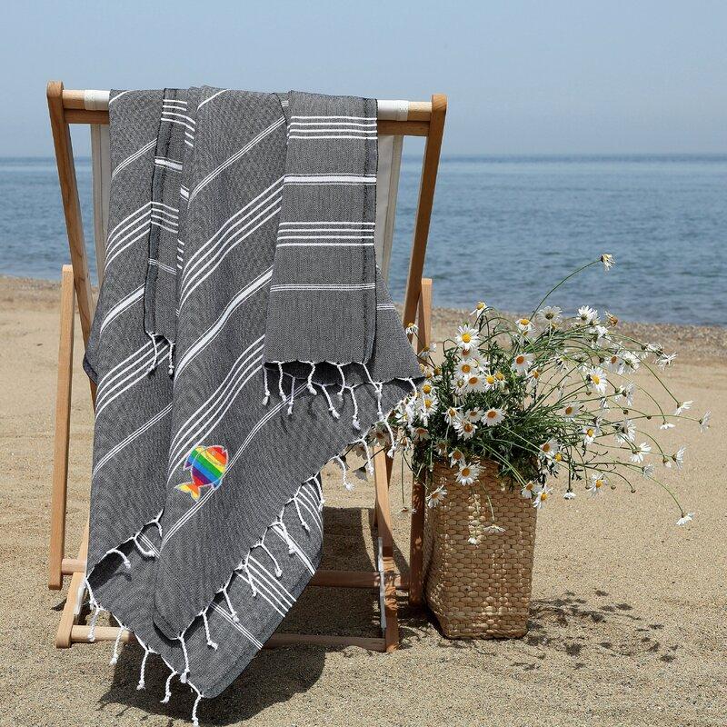 Highland Dunes Prado Sparkling Rainbow Fish Pestemal Turkish Cotton Beach Towel Wayfair