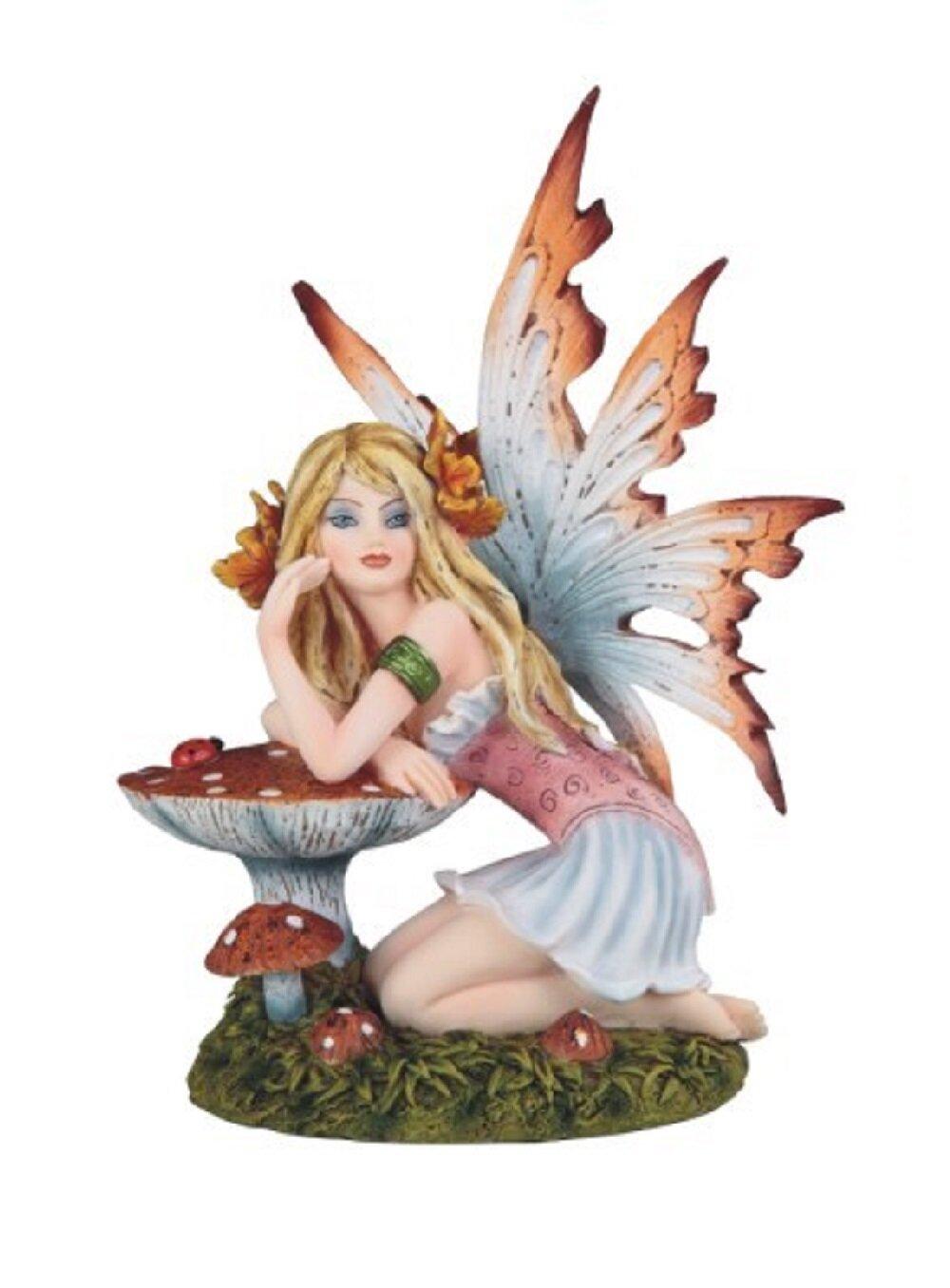 Ebern Designs Wona Fairy With Mushroom Figurine Wayfair