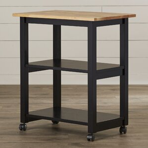 Wooler Kitchen Cart with Butcher Block Top by August Grove