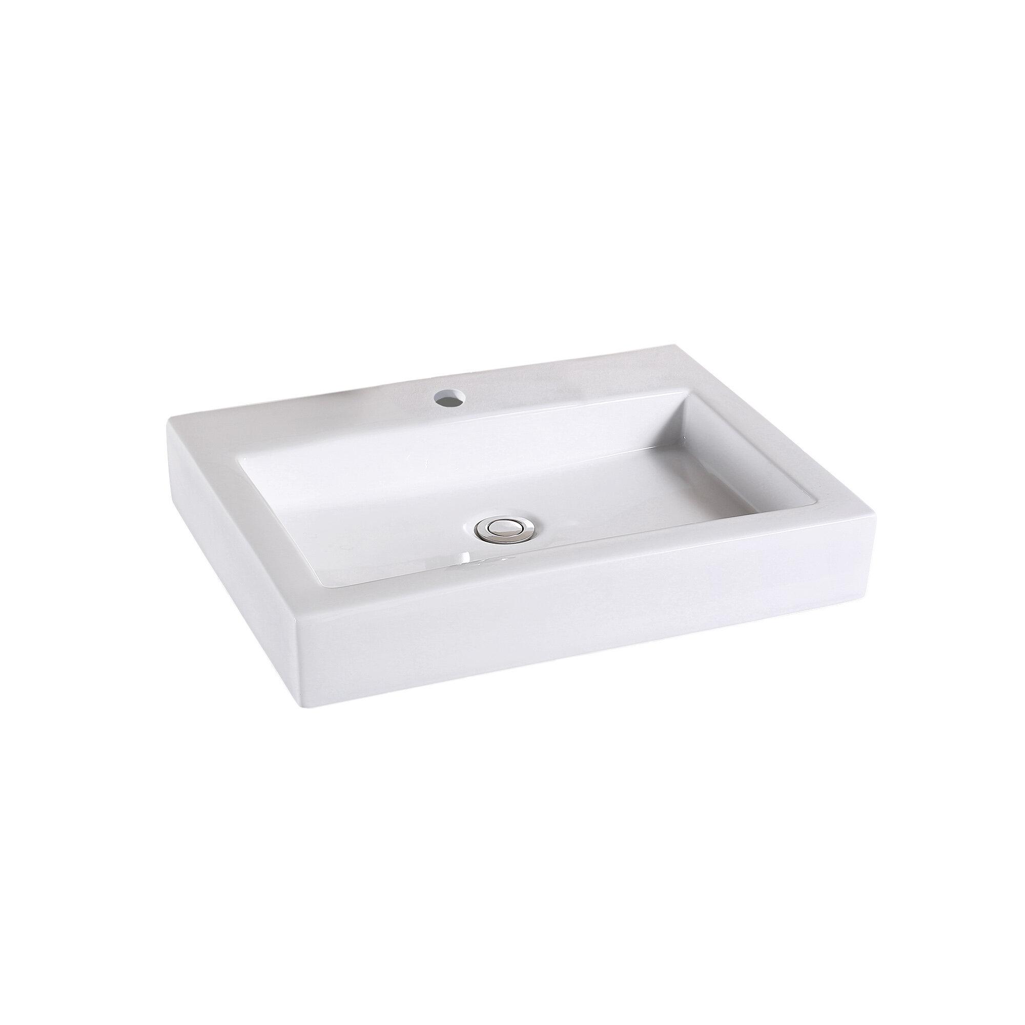 Glazed White Ceramic Rectangular Vessel Bathroom Sink Reviews Allmodern
