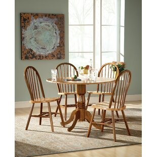 Spradling Round Top 5 Piece Drop Leaf Solid Wood Dining Set by August Grove New