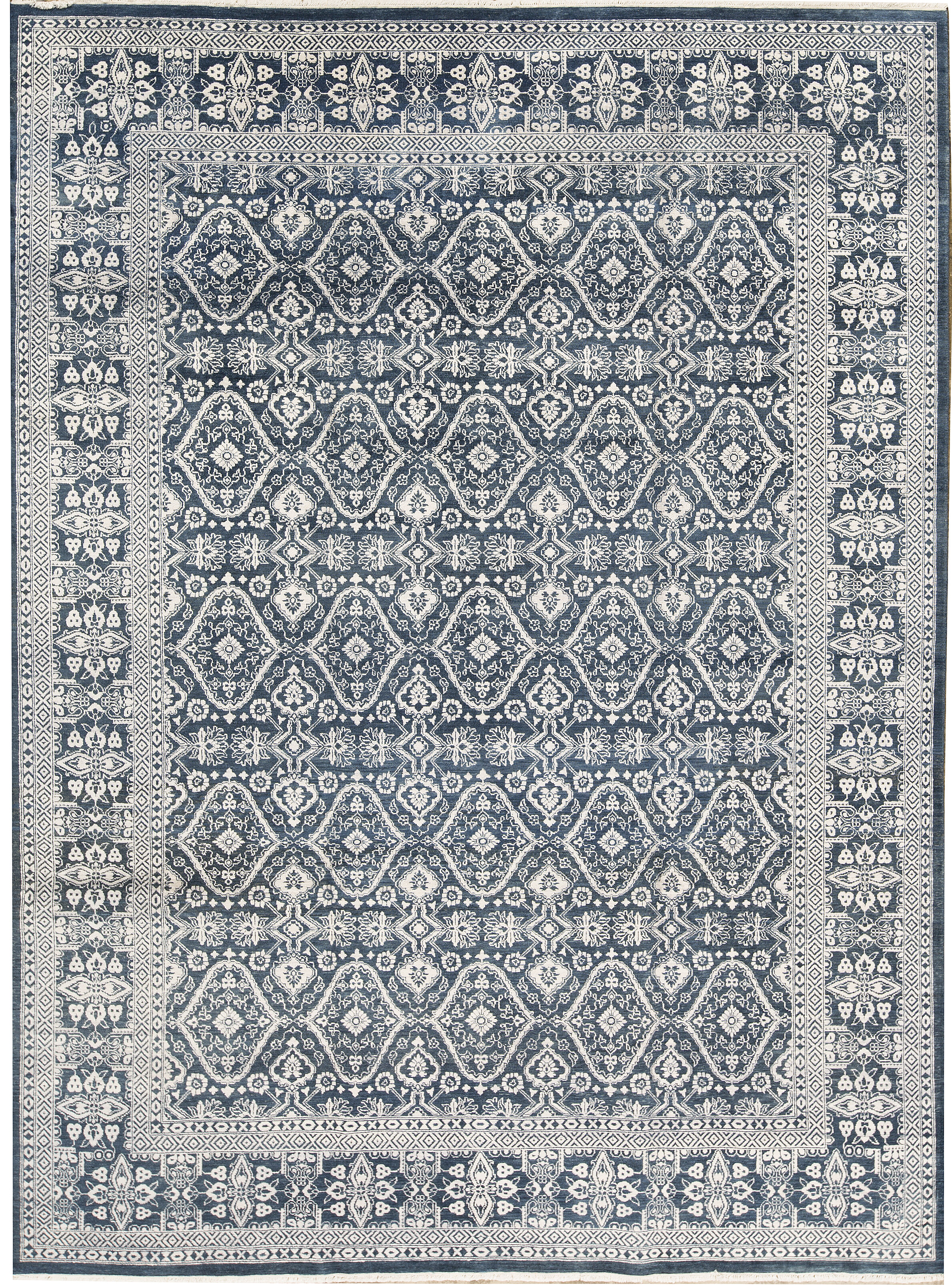 Picture of: Bokara Rug Co Inc One Of A Kind Hand Knotted Dark Blue Gray 9 X 12 Area Rug Wayfair