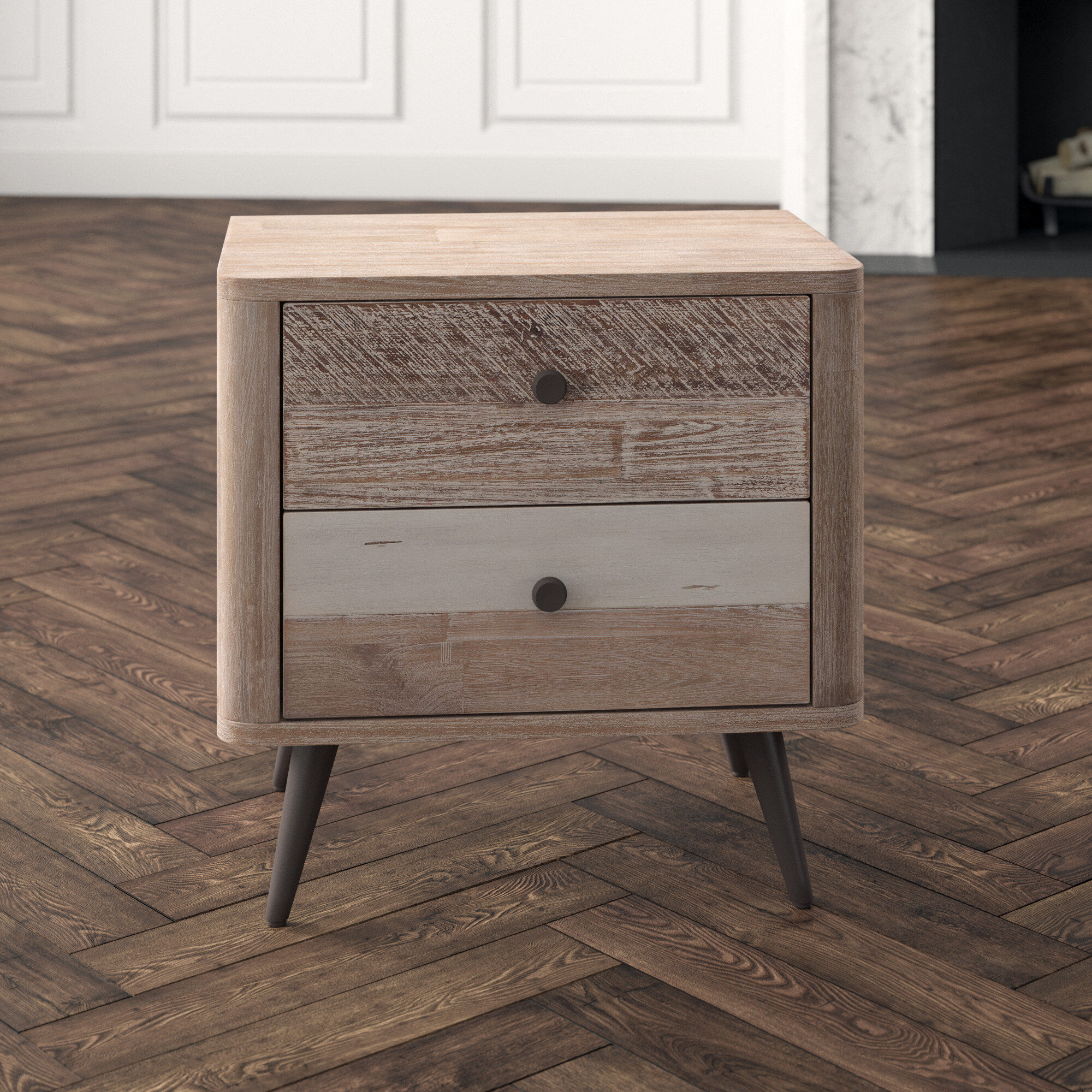 Home Trends Design Newport Acacia Wood 2 Drawer Nightstand Perigold