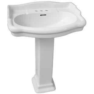 Barclay Stanford 600 Vitreous China Rectangular Pedestal Bathroom Sink with Overflow
