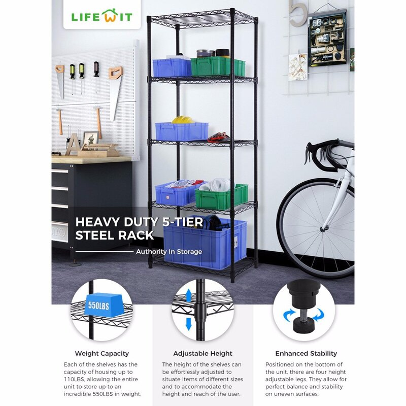 Lifewit 5-Tier Wire Adjustable Garage Storage Rack & Reviews | Wayfair