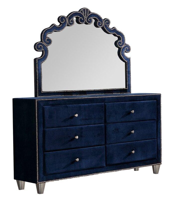 Rosdorf Park Vidal 6 Piece Double Dresser with Mirror