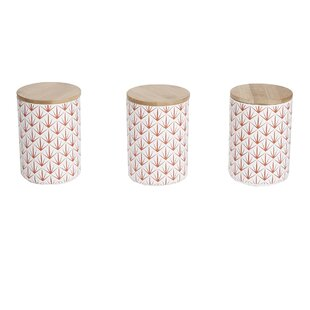 Mind Reader 3 pc Medium Ceramic Canister Set with Lids, Round Canister Sets, Food Storage Jar Container, Red
