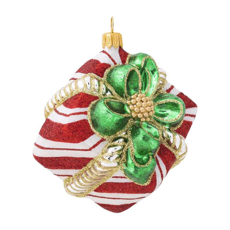 Juliska Stripe Present Glass Holiday Shaped Ornament Perigold
