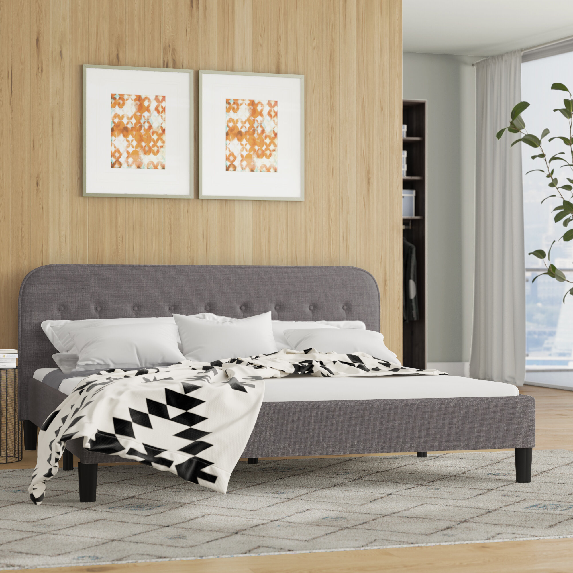 Wrought Studio Bierman Tufted Upholstered Platform Bed Reviews