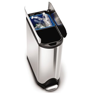 10.6 Gallon Butterfly Step Trash Can, Dual Compartment Recycler, Brushed Stainless Steel