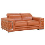 Aiesrom Genuine Leather 71 Pillow top Arm Loveseat by Orren Ellis