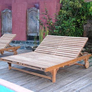 Check Out Bel-Air Double Reclining Teak Chaise Lounge Great buy