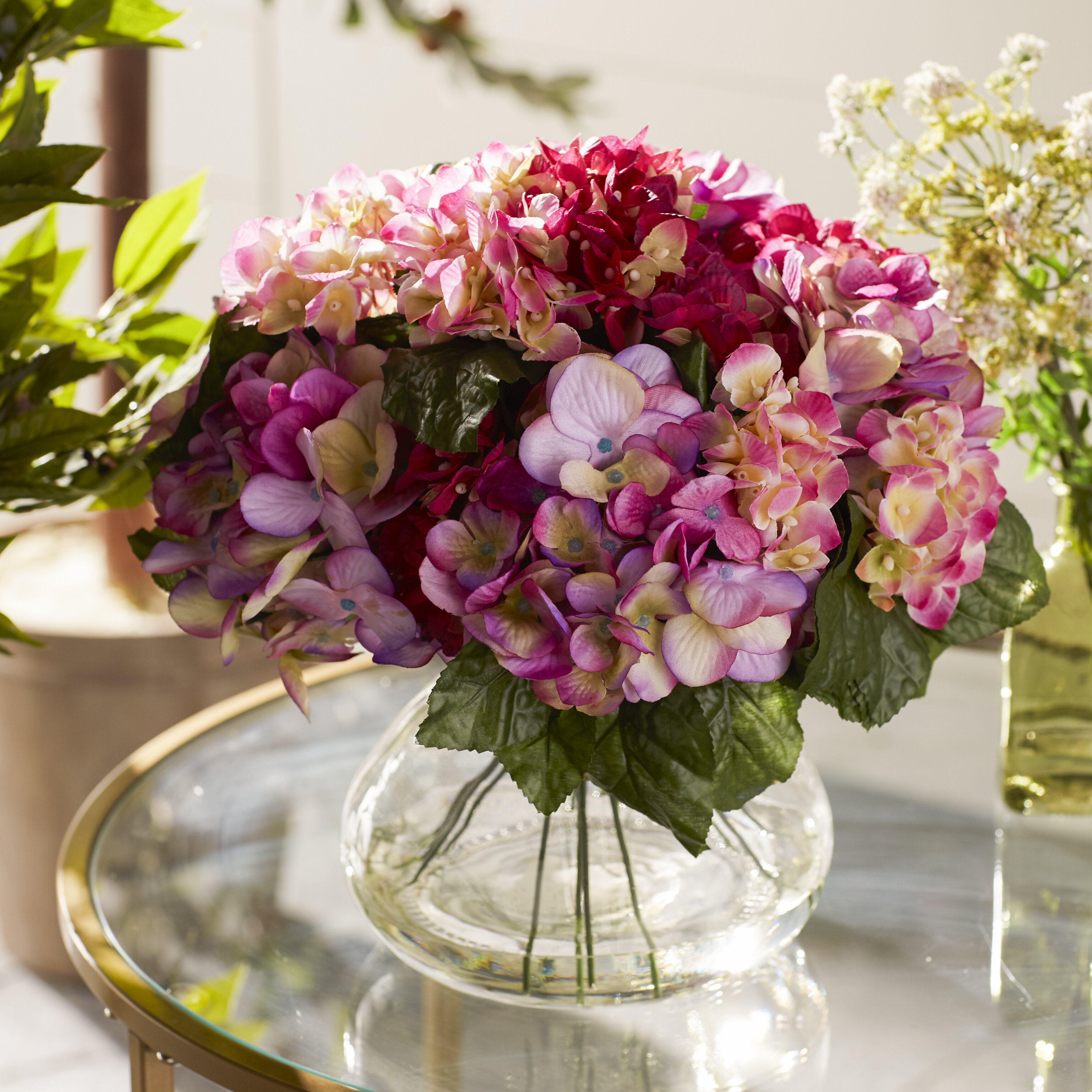 343a4e03f624 Nearly Natural June Large Hydrangea Arrangement in Vase   Reviews ...