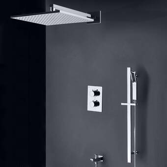 Fontanashowers Mendoza Intelligent Thermostatic Complete Shower System With Rough In Valve Wayfair