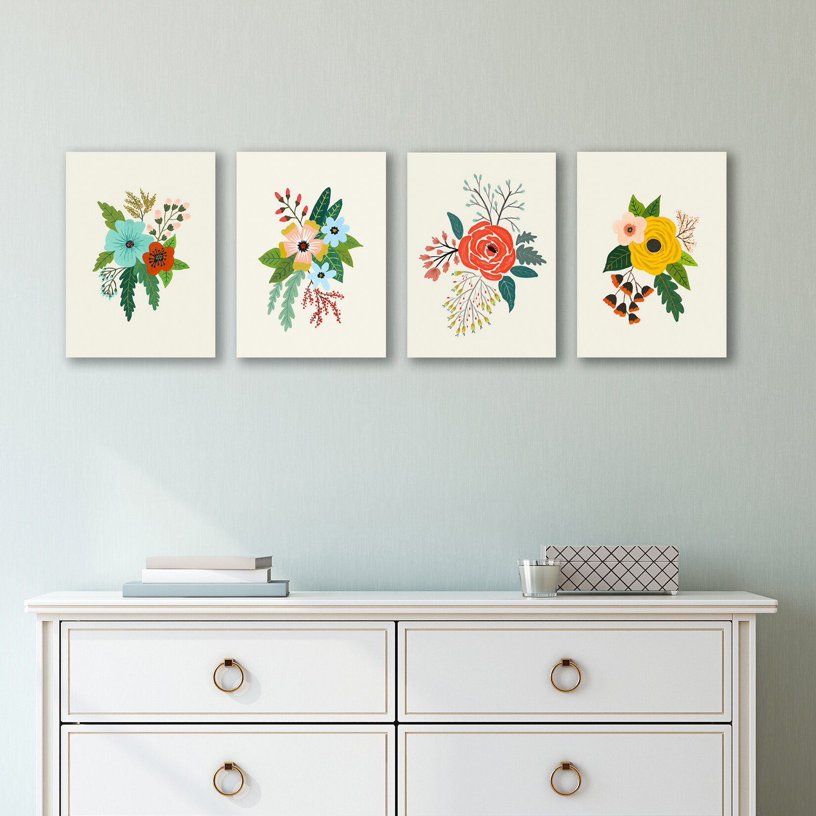 'Folk Art Flowers' Gallery Wall Set on Canvas